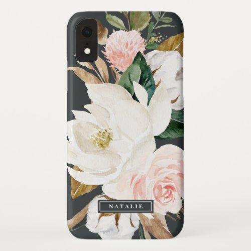 Elegant Magnolia | Black & White Personalized Name Phone Case