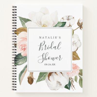 Elegant Magnolia Bridal Shower Gift List Notebook