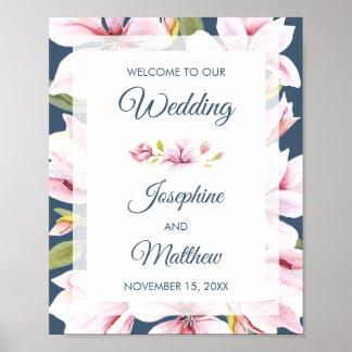 Elegant Magnolia Floral Wedding Welcome Sign
