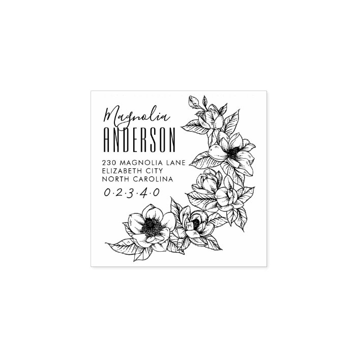 custom personalized housewarming gift floral rubber self inking return address wedding invitation stamp Custom Magnolia Address Stamp