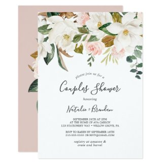 Elegant Magnolia | White and Blush Couples Shower Invitation
