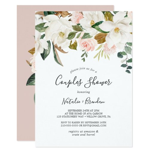 Elegant Magnolia White and Blush Couples Shower Invitation