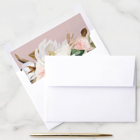 Elegant Magnolia | White and Blush Wedding Envelope Liner
