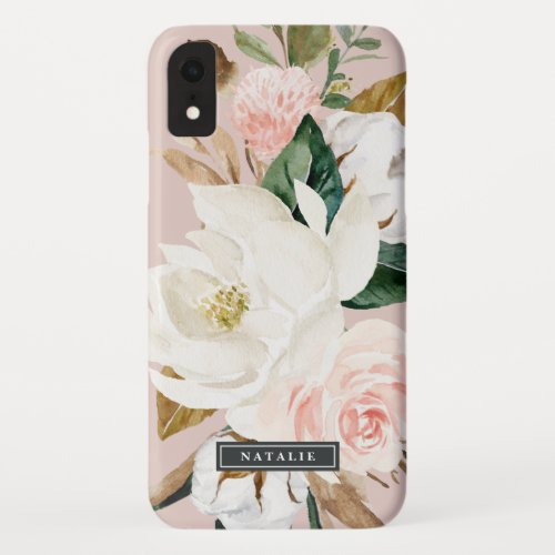 Elegant Magnolia | White & Blush Personalized Name Phone Case