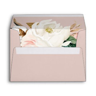 Elegant Magnolia White & Blush Wedding Invitation Envelope