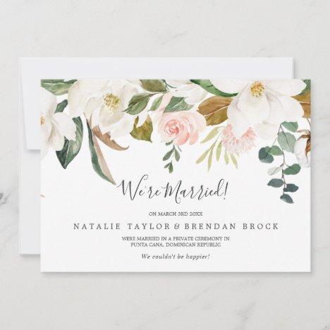 Elegant Magnolia | White Elopement Announcement