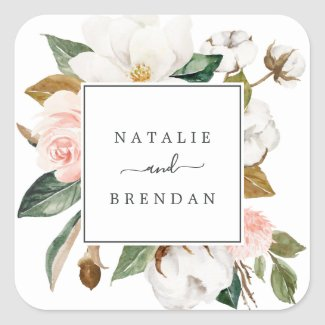 Elegant Magnolia | White Wedding Envelope Seals