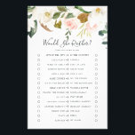 "Elegant Magnolia Would She Rather Game Flyer<br><div class=""desc"">This elegant magnolia would she rather game is perfect for a modern classy wedding shower. The soft floral design features watercolor blush pink peonies, stunning white magnolia flowers and cotton with gold and green leaves in a luxurious arrangement. Personalize the back of the card with the name of the bride...</div>"