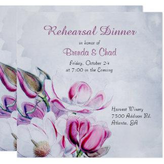 Elegant Magnolias Wedding Rehearsal Invitation