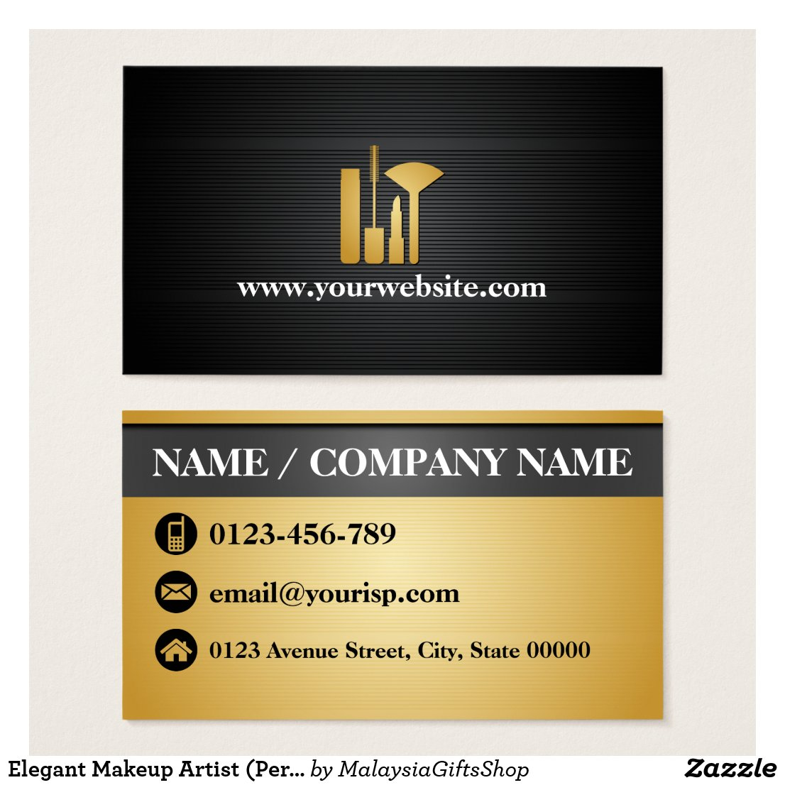 Elegant Makeup Artist (Personalize) Makeup Tool Business Card