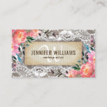 "Elegant Makeup Artist Wedding Rustic Floral Business Card<br><div class=""desc"">Rustic chic professional business cards featuring a wooden background,  elegant bridal lace,  plush pink floral decor and a template thats easily personalized. This design is perfect for a Wedding Planner,  Florist,  Event Organizer,  Makeup Artist,  Beautician,  Hair Stylist,  Nail Technician,  Cosmetologist,  and Salon.</div>"