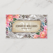 Elegant Makeup Artist Wedding Rustic Floral Business Card