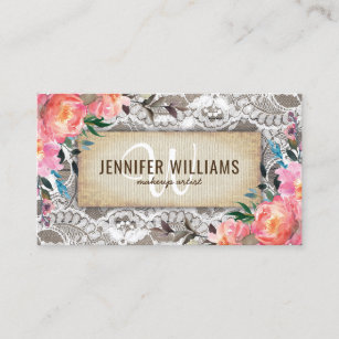 Floral business cards templates zazzle elegant makeup artist wedding rustic floral business card cheaphphosting Gallery