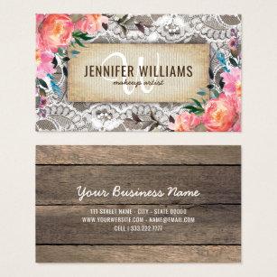 Wedding planner business cards templates zazzle elegant makeup artist wedding rustic floral business card junglespirit Gallery