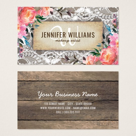 Makeup artist business cards zazzle elegant makeup artist wedding rustic floral business card reheart Choice Image