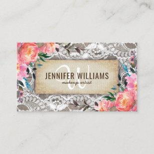 Makeup artist business cards zazzle elegant makeup artist wedding rustic floral business card colourmoves