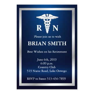 Elegant Male Nurse Retirement Party Invitation