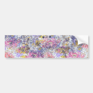 Elegant mandala confetti and watercolor floral bumper sticker