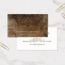 Elegant Mandala Flower Logo Yoga Instructor Business Card