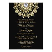 Elegant Mandala Gold Black Indian Wedding Invitation