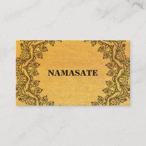 Elegant Mandala Namaste Gold Yoga Logo Art Business Card
