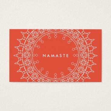 Professional Business Elegant Mandala Namaste Yoga Coral Business Card
