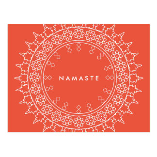 Elegant Mandala Namaste Yoga Coral Postcard