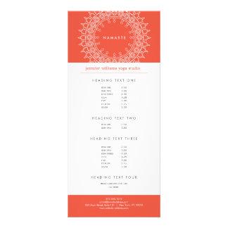 Elegant Mandala Namaste Yoga Coral Rack Card