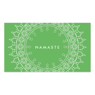 Elegant Mandala Namaste Yoga Green Business Card