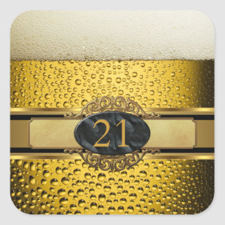 Elegant Mans Beer Black Gold Birthday Party 21 Square Sticker