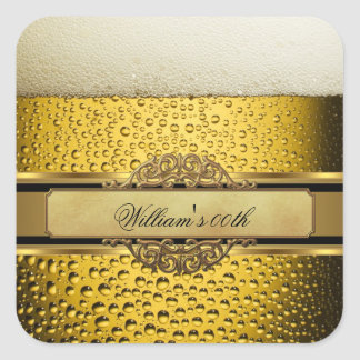 Elegant Mans Beer Black Gold Birthday Party Mens Square Sticker