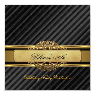 Elegant Mans Black Gold Birthday Party Mens Card