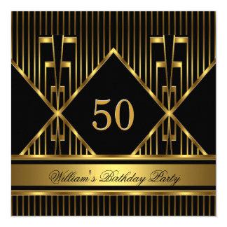 Elegant Mans Black Gold Stripe Birthday Party Mens Card