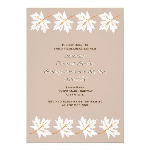 Elegant maple leaves fall wedding rehearsal dinner invitations