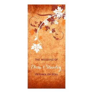 Elegant maple leaves orange fall wedding program