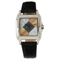 Elegant Marble and Copper Foil Wedding Watch