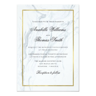 Elegant Marble and Gold Wedding Card