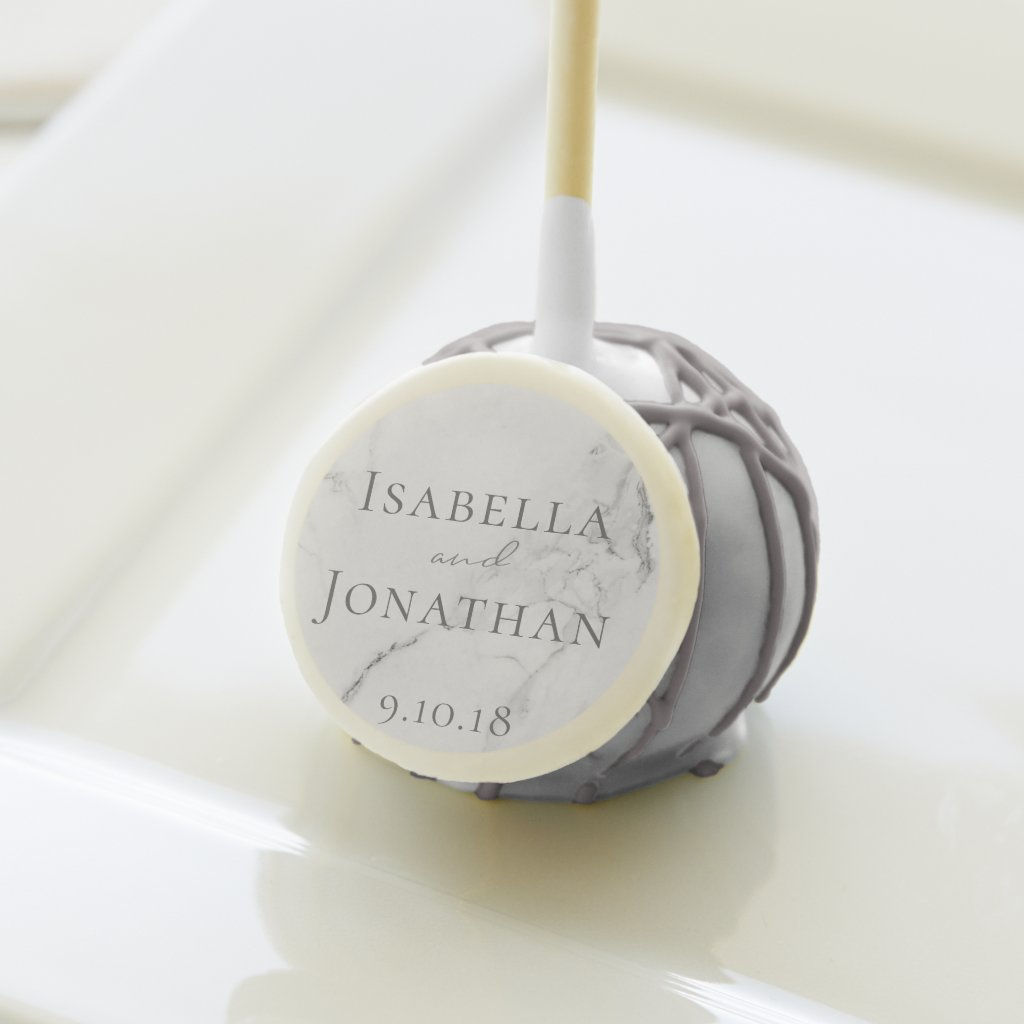 Elegant Marble and Wreath Wedding Dessert Cake Pops
