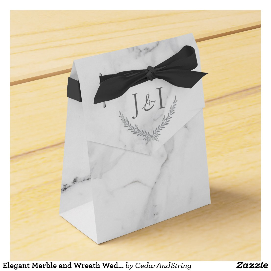 Elegant Marble and Wreath Wedding Treat Bag Favor Box