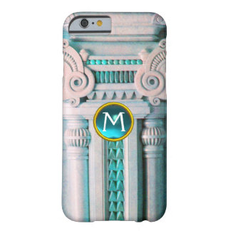 ELEGANT MARBLE COLUMN,PINK BLUE GEM STONE MONOGRAM BARELY THERE iPhone 6 CASE
