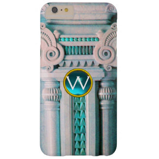 ELEGANT MARBLE COLUMN,PINK BLUE GEM STONE MONOGRAM BARELY THERE iPhone 6 PLUS CASE