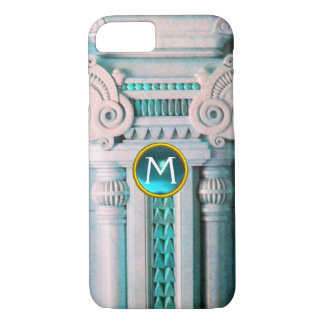 ELEGANT MARBLE COLUMN,PINK BLUE GEM STONE MONOGRAM iPhone 7 CASE