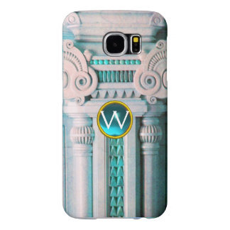 ELEGANT MARBLE COLUMN,PINK BLUE GEM STONE MONOGRAM SAMSUNG GALAXY S6 CASES