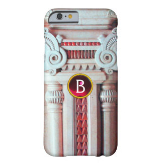 ELEGANT MARBLE COLUMN,PINK RED GEM STONE MONOGRAM BARELY THERE iPhone 6 CASE