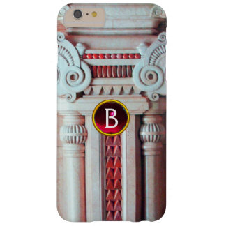 ELEGANT MARBLE COLUMN,PINK RED GEM STONE MONOGRAM BARELY THERE iPhone 6 PLUS CASE