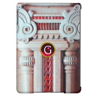 ELEGANT MARBLE COLUMN,PINK RED GEM STONE MONOGRAM CASE FOR iPad AIR