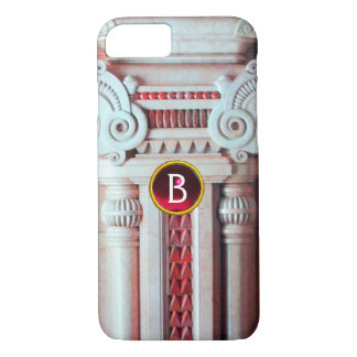 ELEGANT MARBLE COLUMN,PINK RED GEM STONE MONOGRAM iPhone 7 CASE