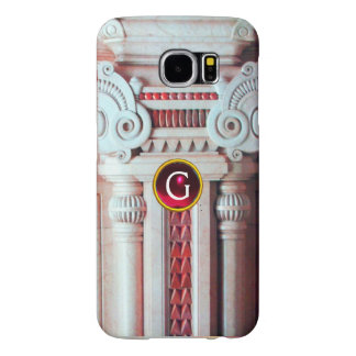 ELEGANT MARBLE COLUMN,PINK RED GEM STONE MONOGRAM SAMSUNG GALAXY S6 CASES