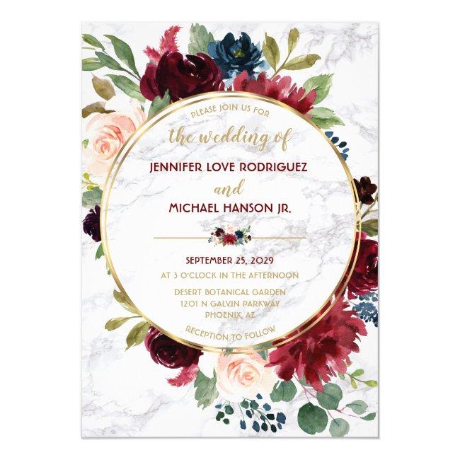 Elegant Marble Gold Rhapsody Floral Wedding Invitation