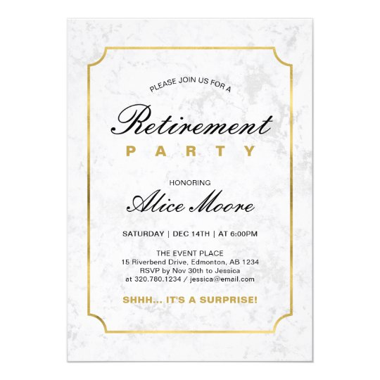 Elegant Marble Gold Surprise Retirement Party Invitation